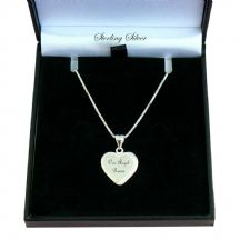 Sterling Silver Heart on Silver Chain with Engraving